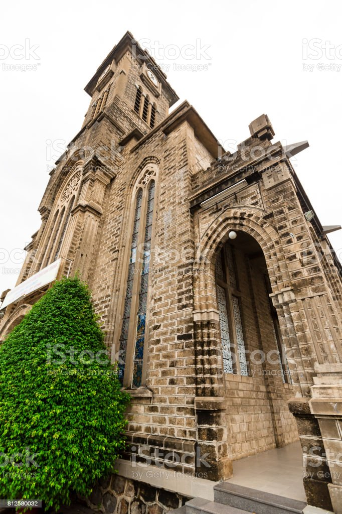Old stone church ancient cathedral, religious place, Nha Trang, Vietnam stock photo