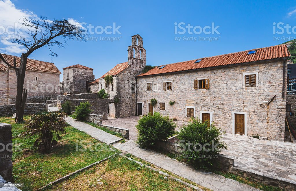 Old Stone Church in Budva, Montenegro stock photo