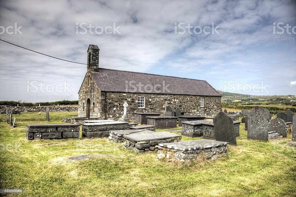 Old stone church on remote Welsh headland royalty-free stock photo