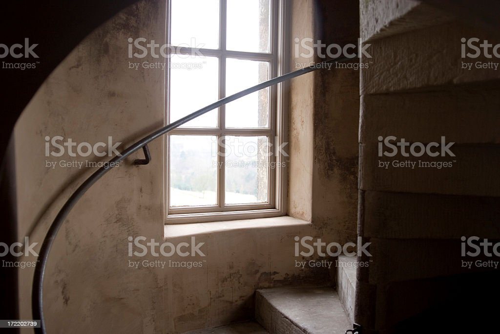 Old stone circular staircase stock photo