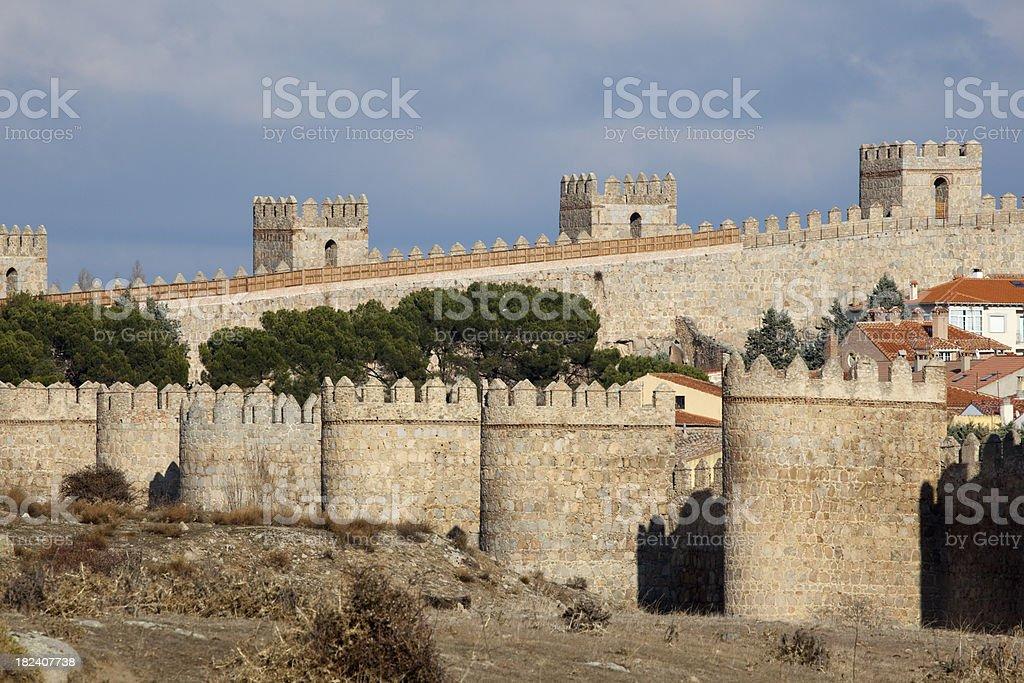 Old Stone Fortress Walls, City of Avila, Spain, Europe stock photo