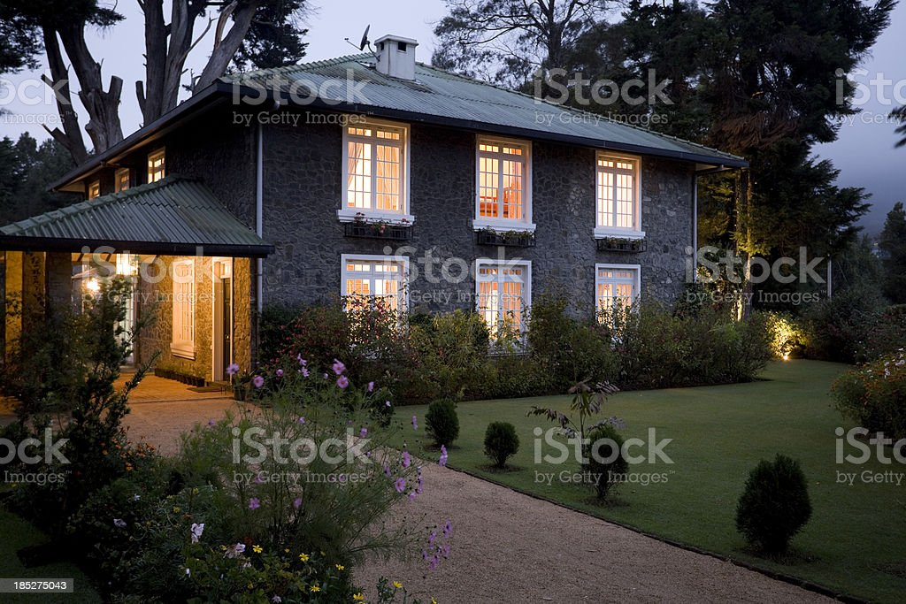 old stone house stock photo