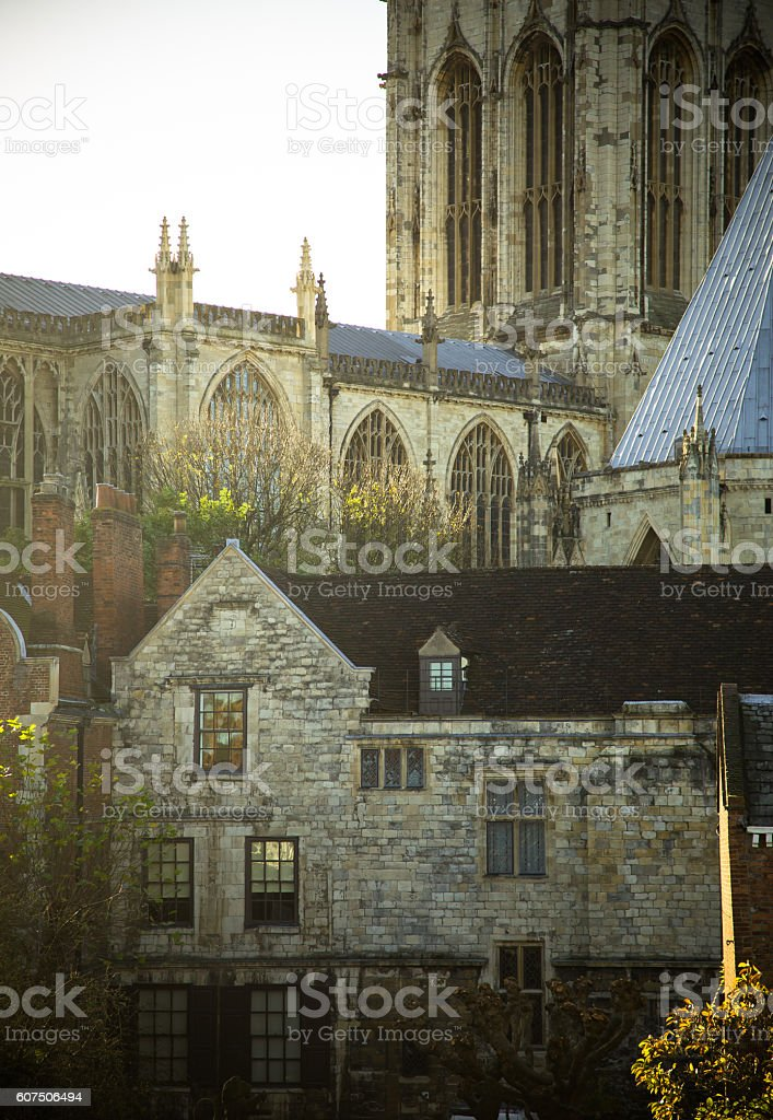 Old Stone Houses by York Minster stock photo