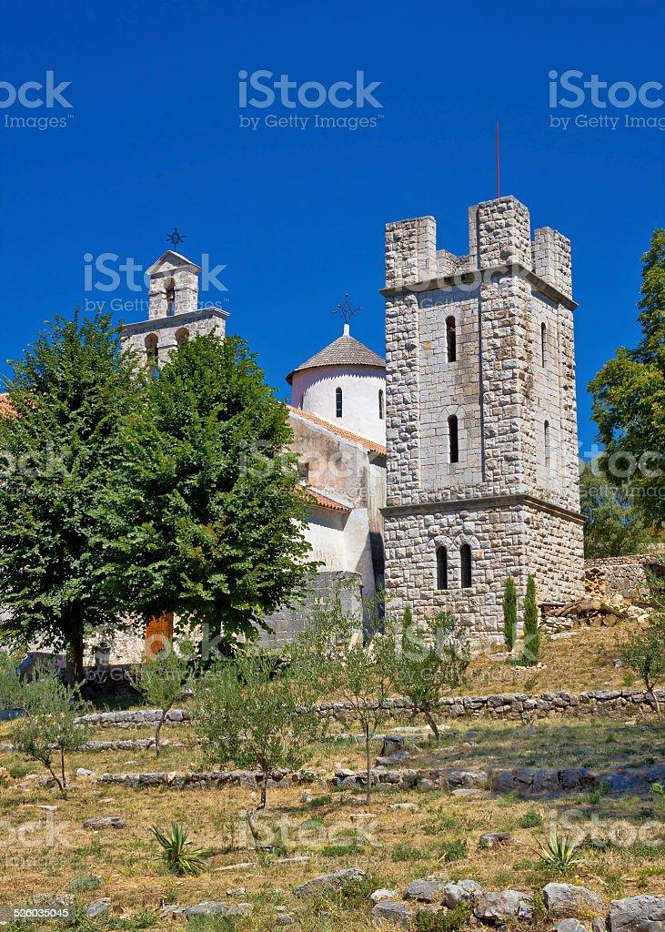 Old stone orthodox monastery of Krupa stock photo