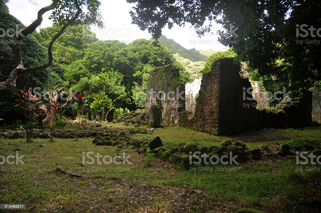 Old stone ruins in rainforest of hawaii, Kaniakapupu stock photo