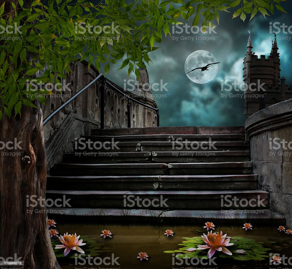 Old stone staircase in celebration of Halloween on background stock photo