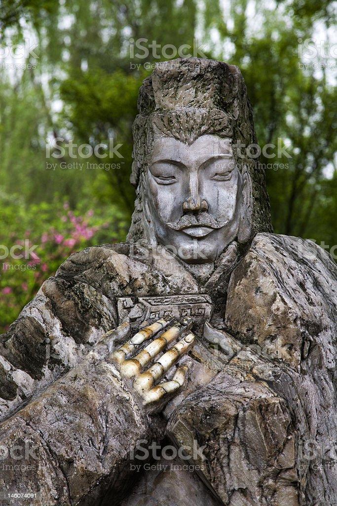 Old Stone Statue Liu Bei Peach Temple Chengdu Sichuan China stock photo