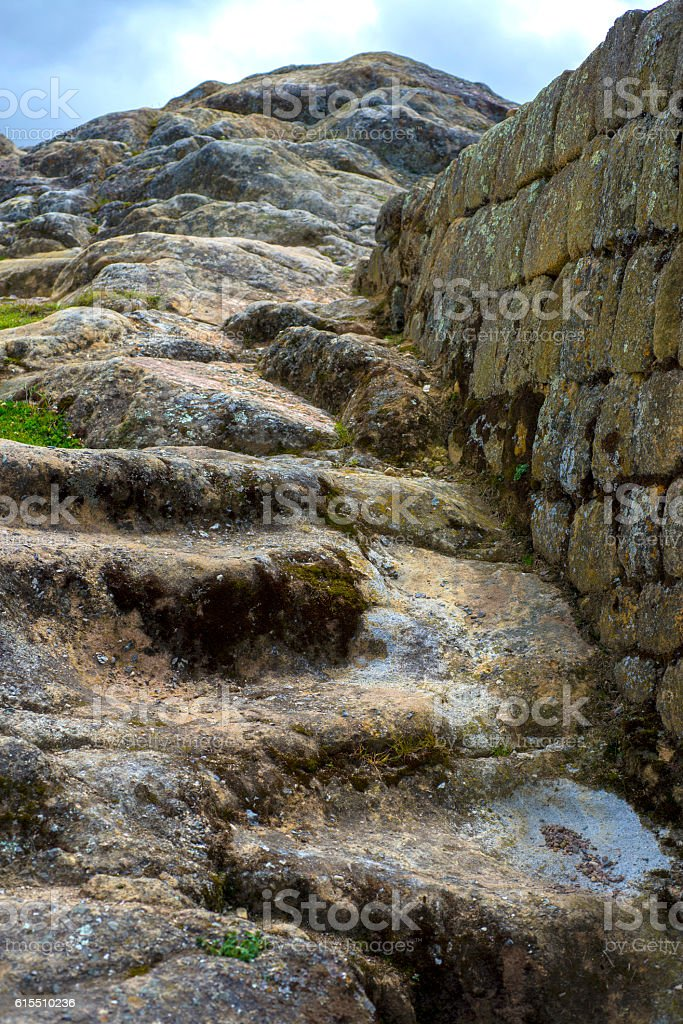 Old stone steps at Ingapirca stock photo