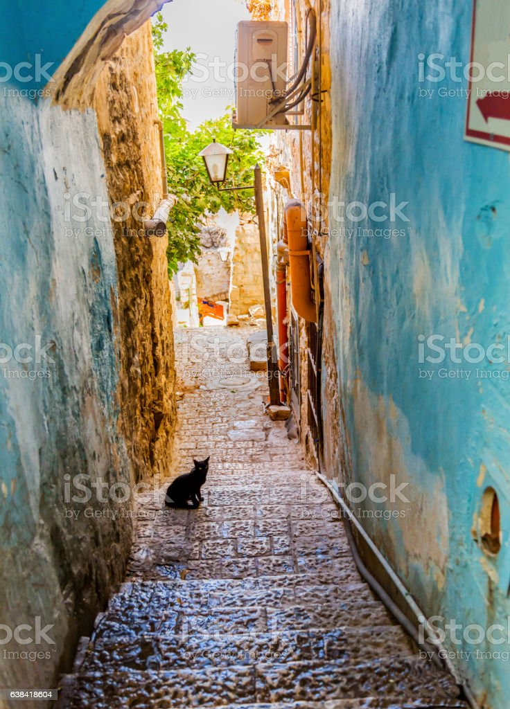 Old Stone Street Alleyway Black Cat Safed Tsefat Israel stock photo