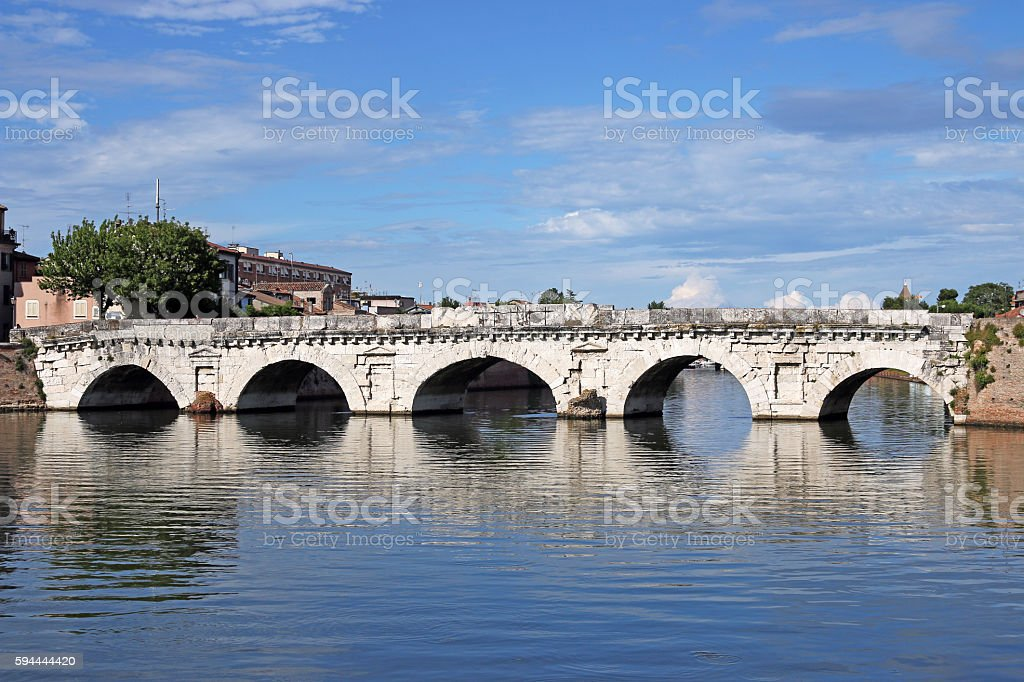 old stone Tiberius bridge landmark Rimini Italy stock photo