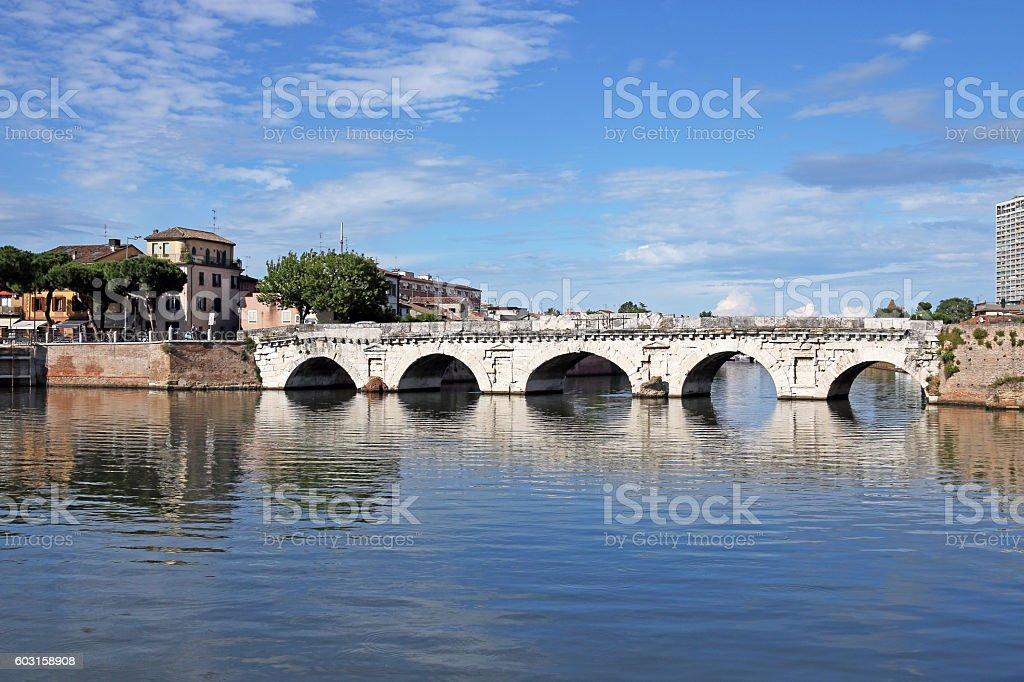 old stone Tiberius bridge Rimini Italy stock photo