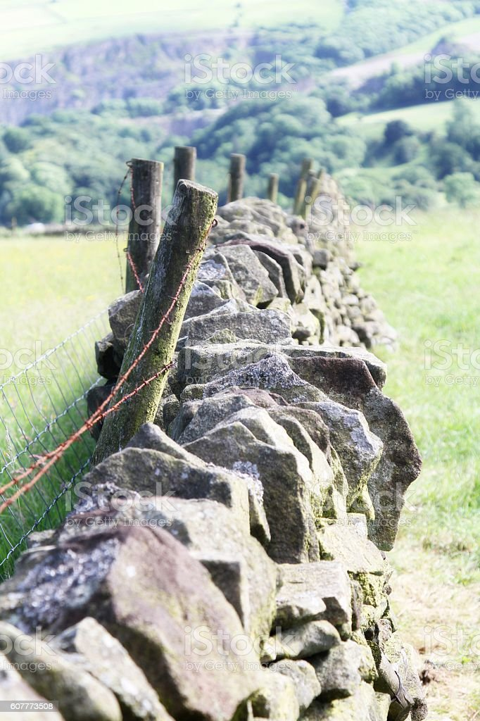 old stone wall in Peak District UK stock photo