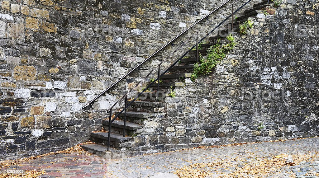 Old Stone Wall With Stairway royalty-free stock photo