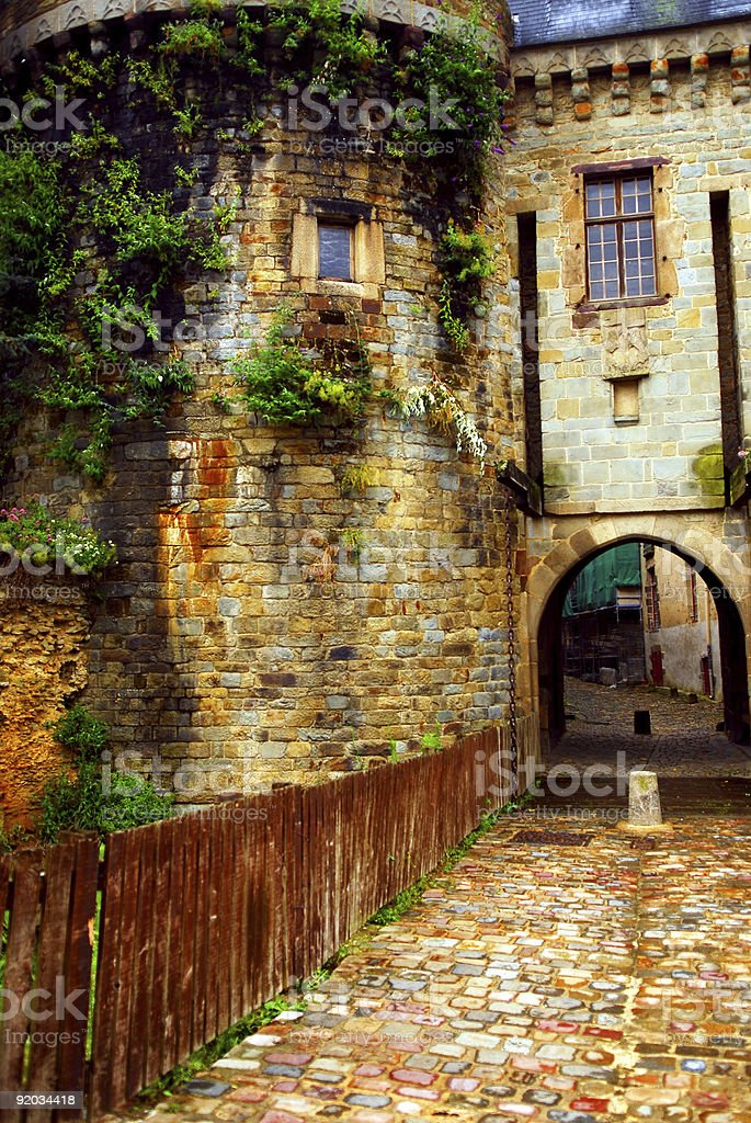Old stone walls in Rennes royalty-free stock photo