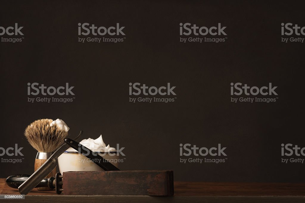 old straight Razor with Brush, Strop and Shaving Soap stock photo
