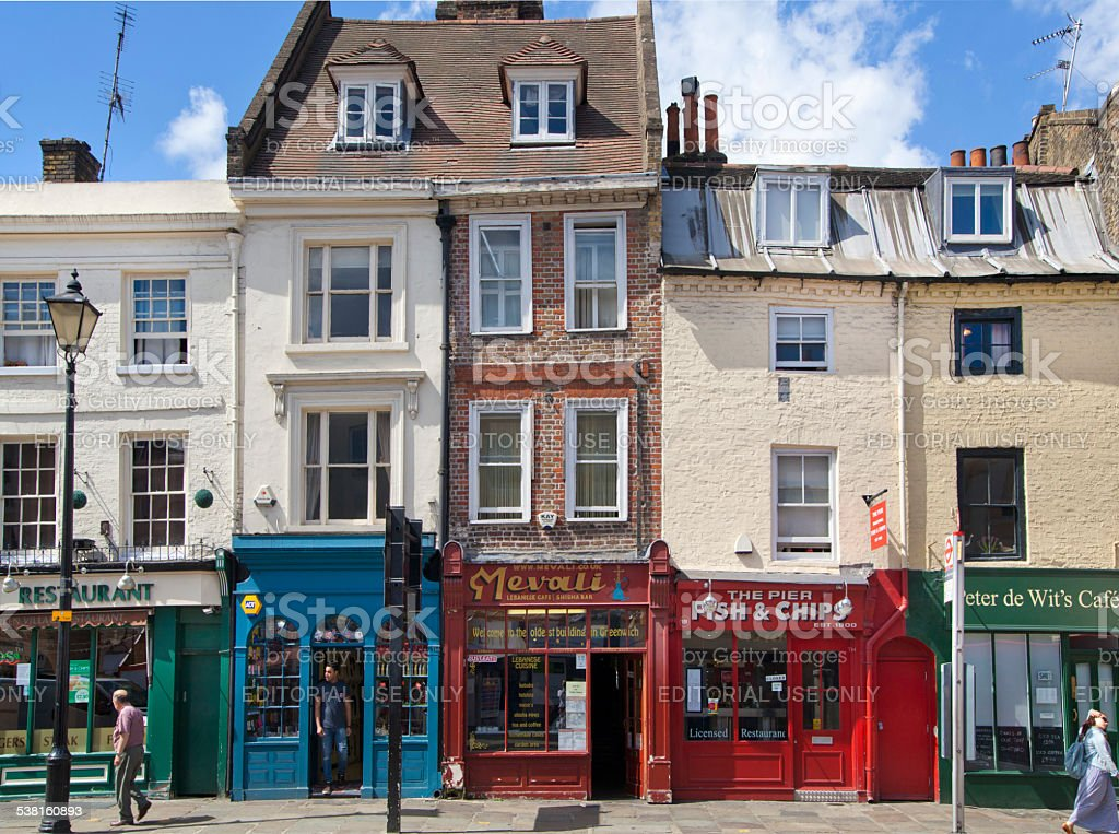 Old street Greenwich view with small shops, London stock photo