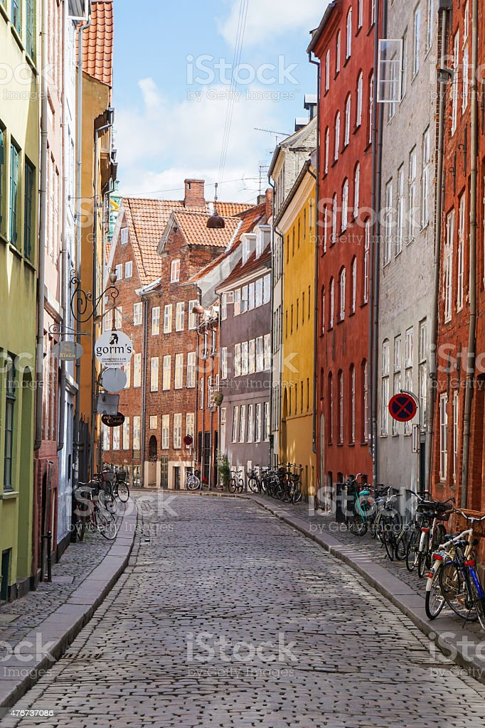 Old Street houses in Copenhagen stock photo