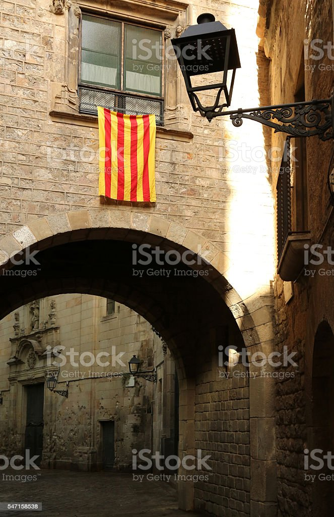 Old Street in Barcelona Gothic Quarter stock photo