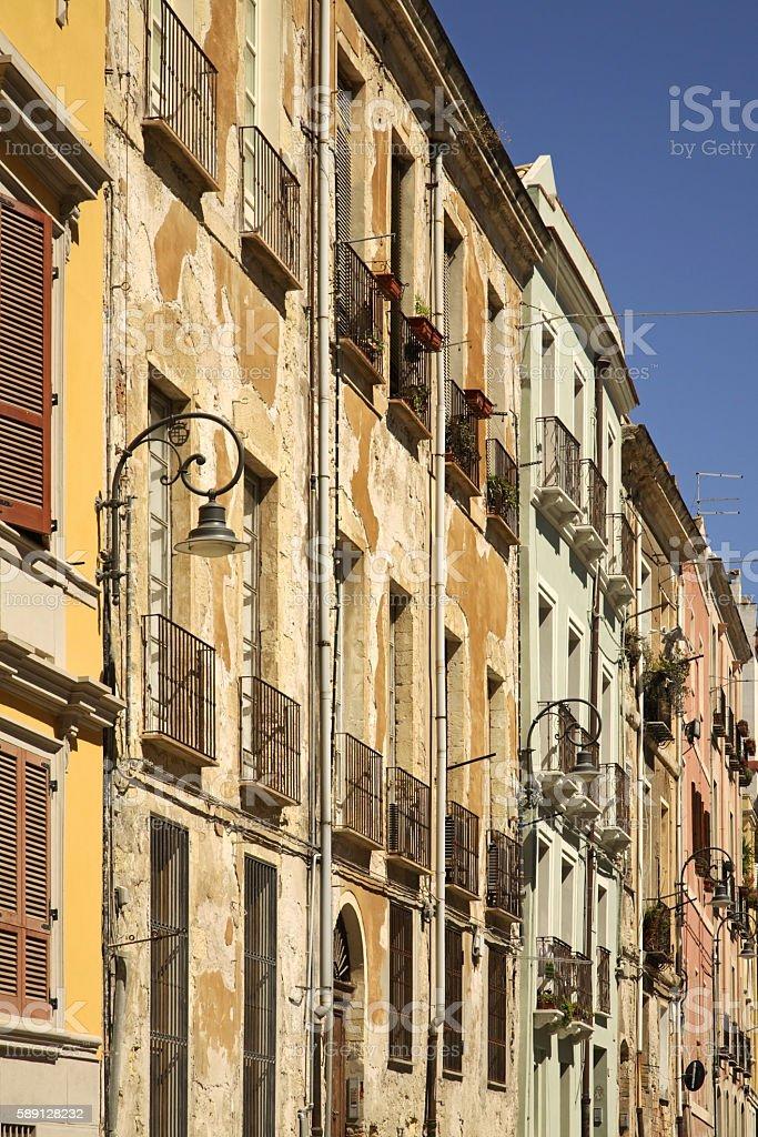 Old street in Cagliari. Sardinia. Italy stock photo
