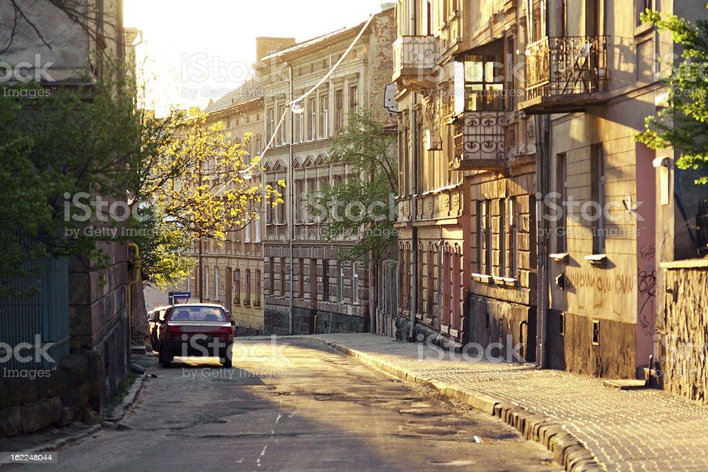 Old street in center of Lviv stock photo