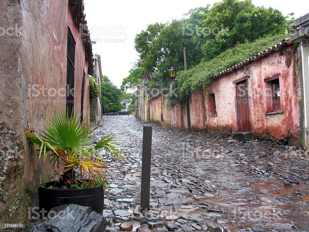 Old street in Colonia del Sacramento Uruguay royalty-free stock photo