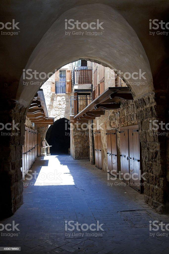 Old street in downtown of Saida, Lebanon stock photo