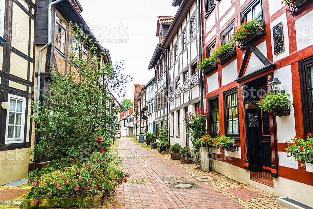 Old street in Hameln stock photo