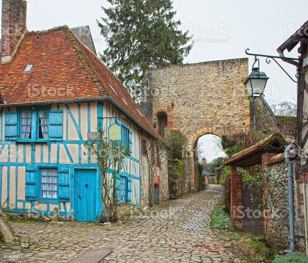Old street in medieval village. stock photo