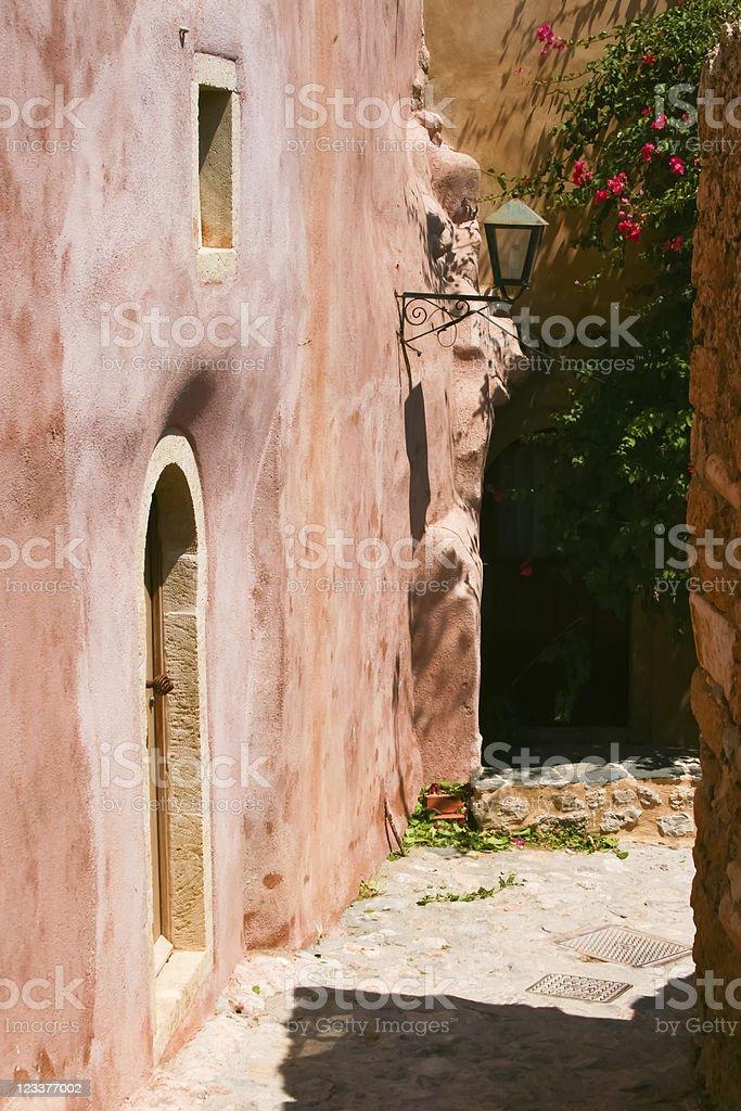Old street in Monemvasia stock photo