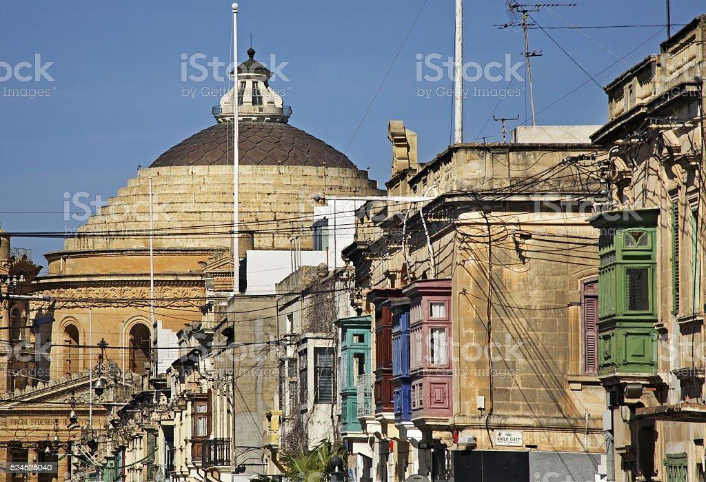 Old street in Mosta. Malta stock photo
