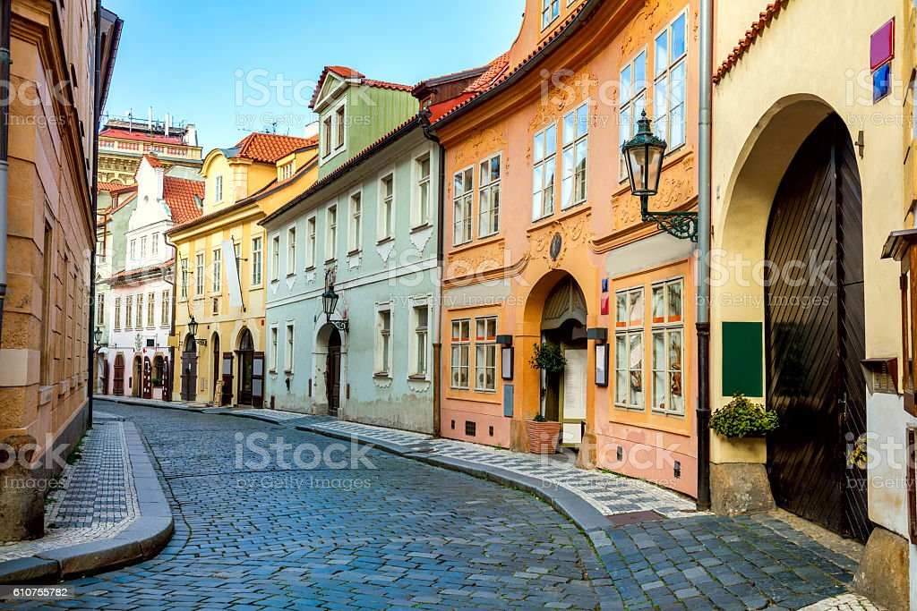 Old Street in Prague at the morning, downtown stock photo