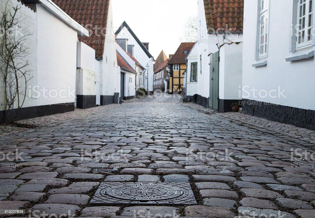 Old Street in Ribe, Denmark stock photo