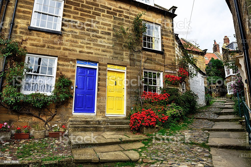 Old street in Robin Hoods Bay, North Yorkshire stock photo
