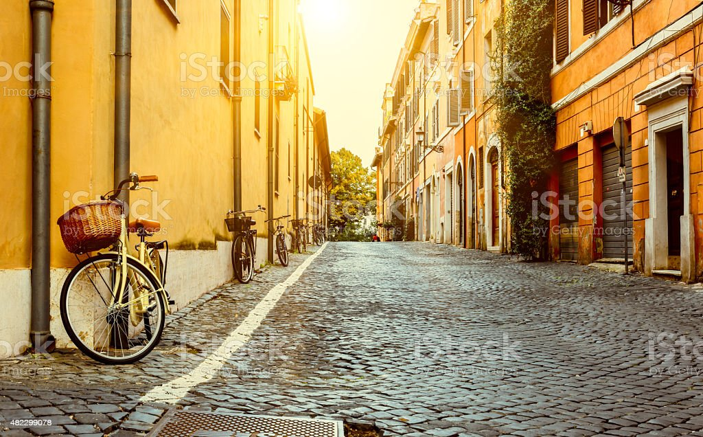 Old street in Rome stock photo