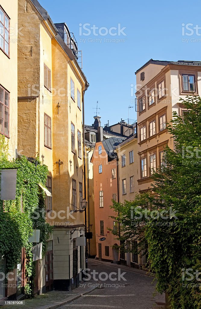 Old street in the center of Stockholm stock photo