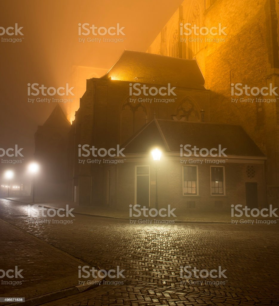 Old street in the city of Kampen at night stock photo