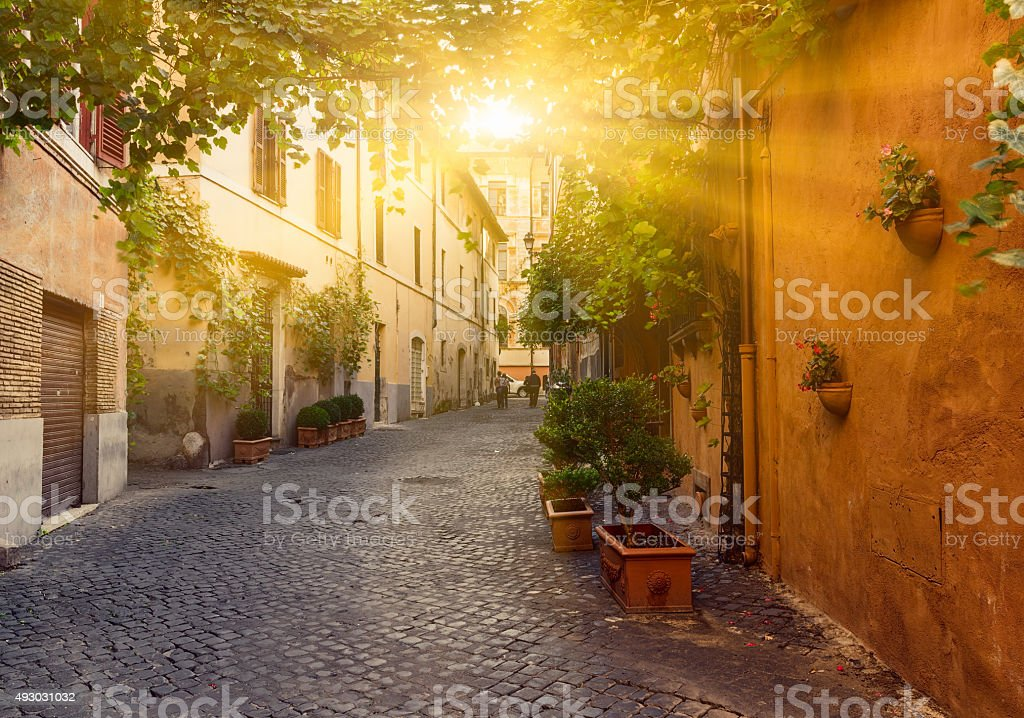 Old street in Trastevere in Rome stock photo