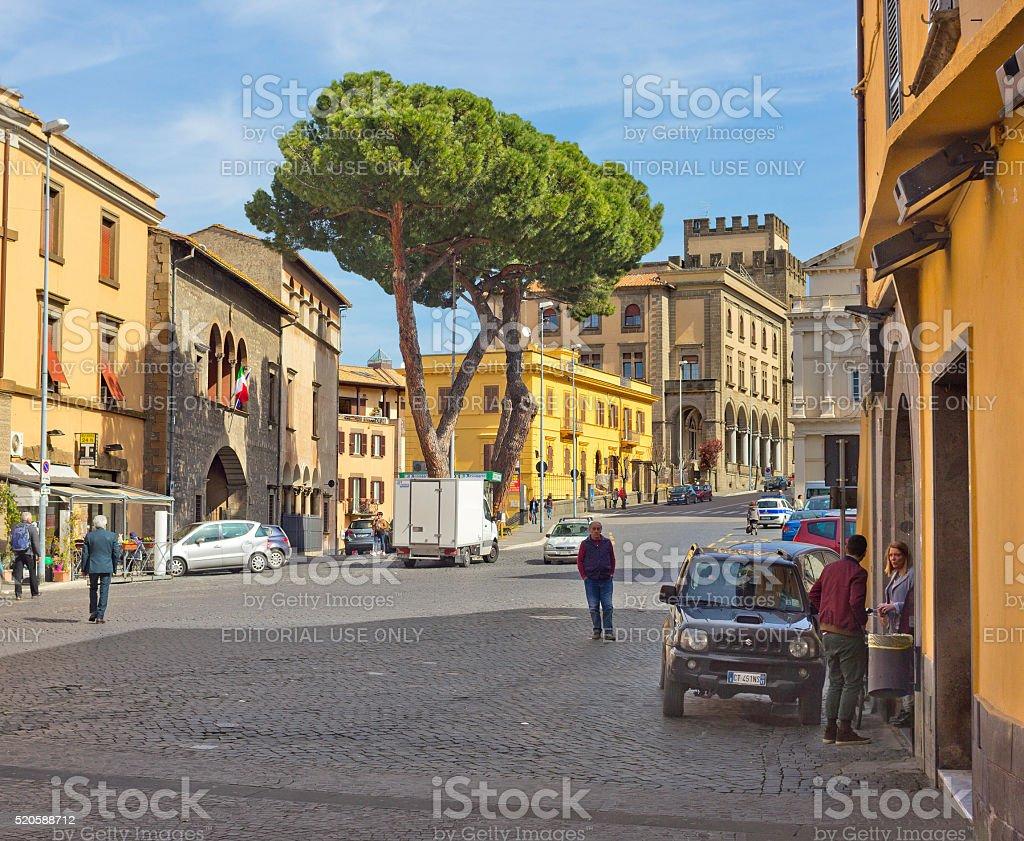 Old street in Viterbo, Italy stock photo