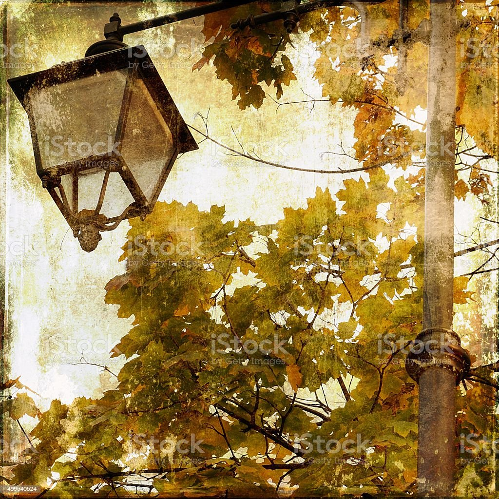Old street lamp and yellow autumnal maple leaves stock photo