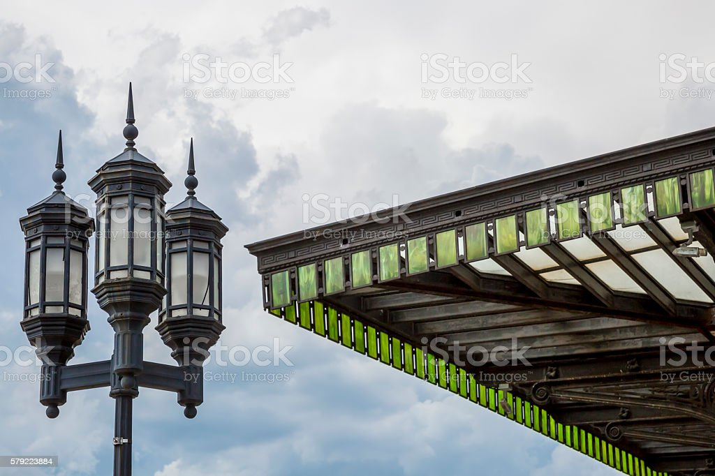 Old Street Lamps and Green Glass Awning stock photo