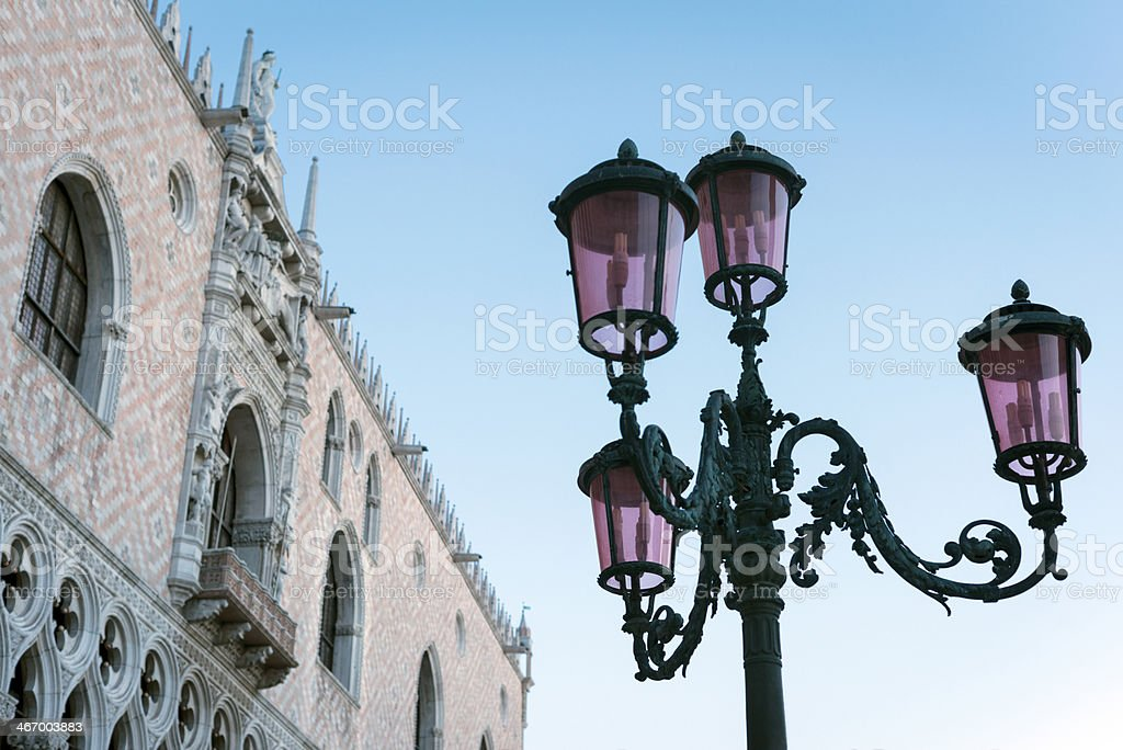 Old Street Lights and Doges Palace, Venice, Italy royalty-free stock photo