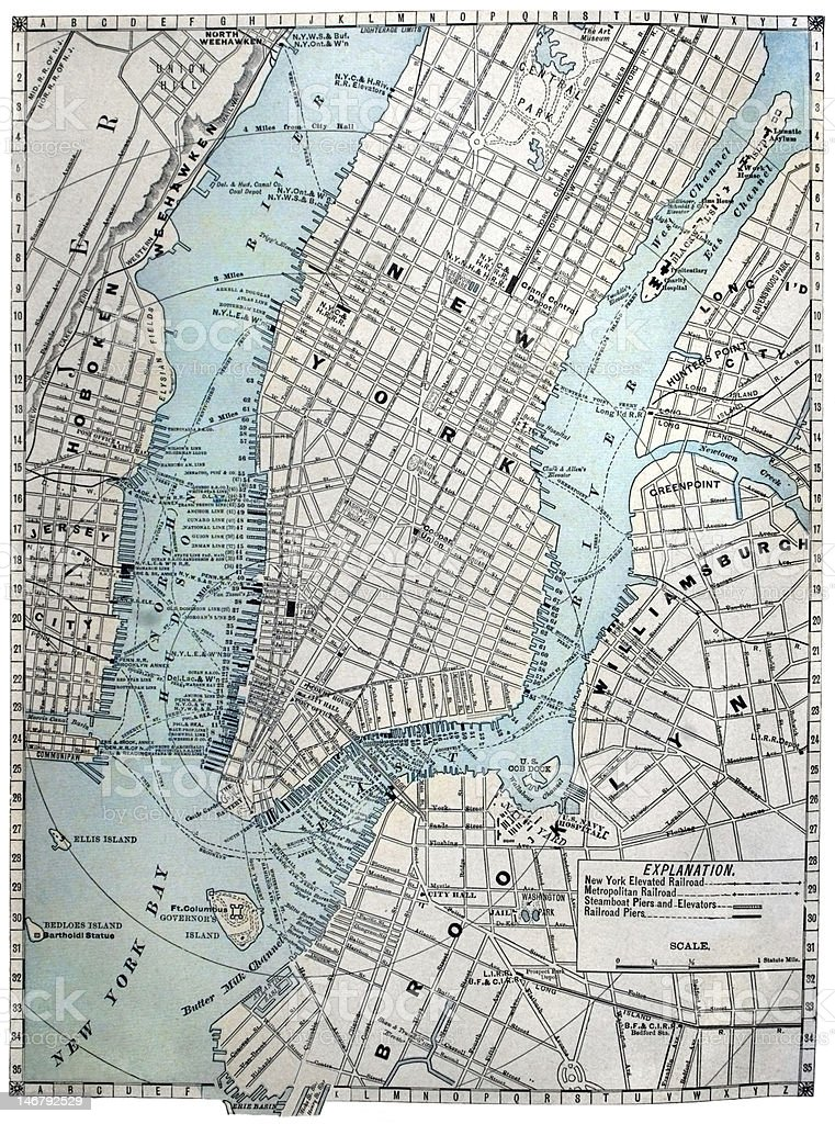 Old Street Map of New York City. stock photo