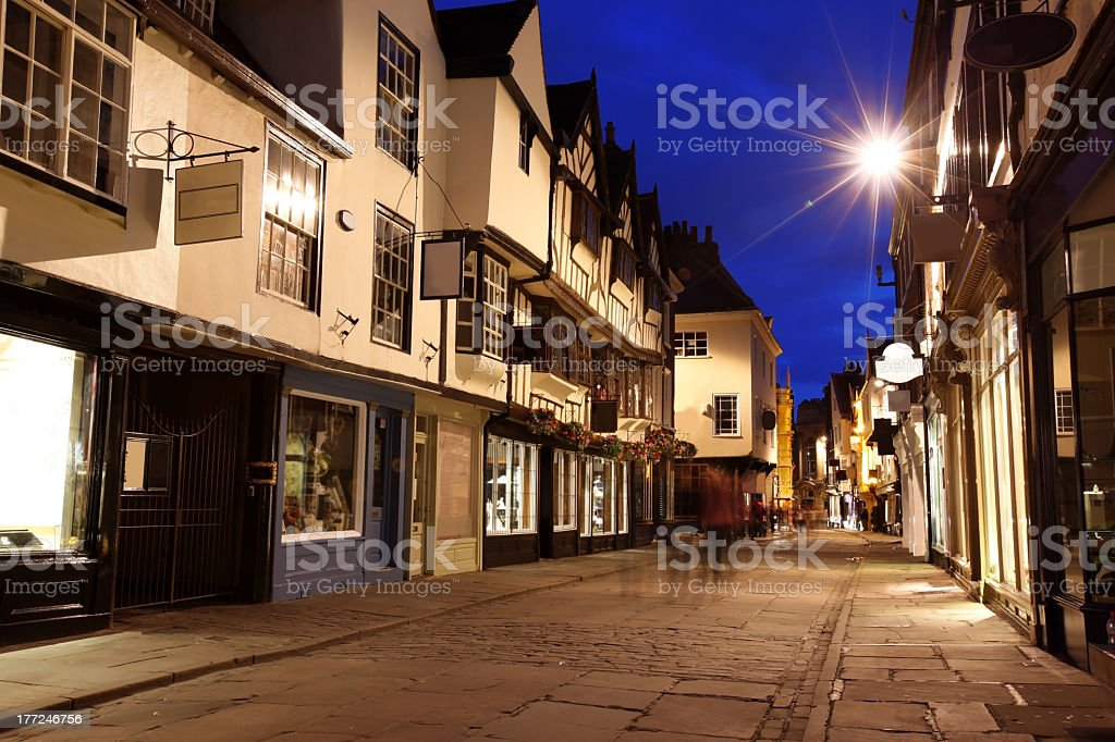 Old street view in York, England in the evening stock photo