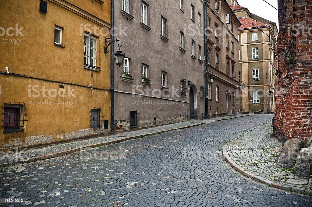 Old street, Warsaw, Poland stock photo