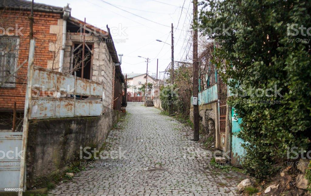 old street with houses and stone road. Kutaisi, Georgia stock photo