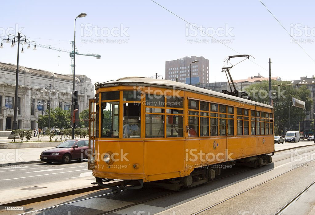 Old Streetcar in Milan, Italy royalty-free stock photo