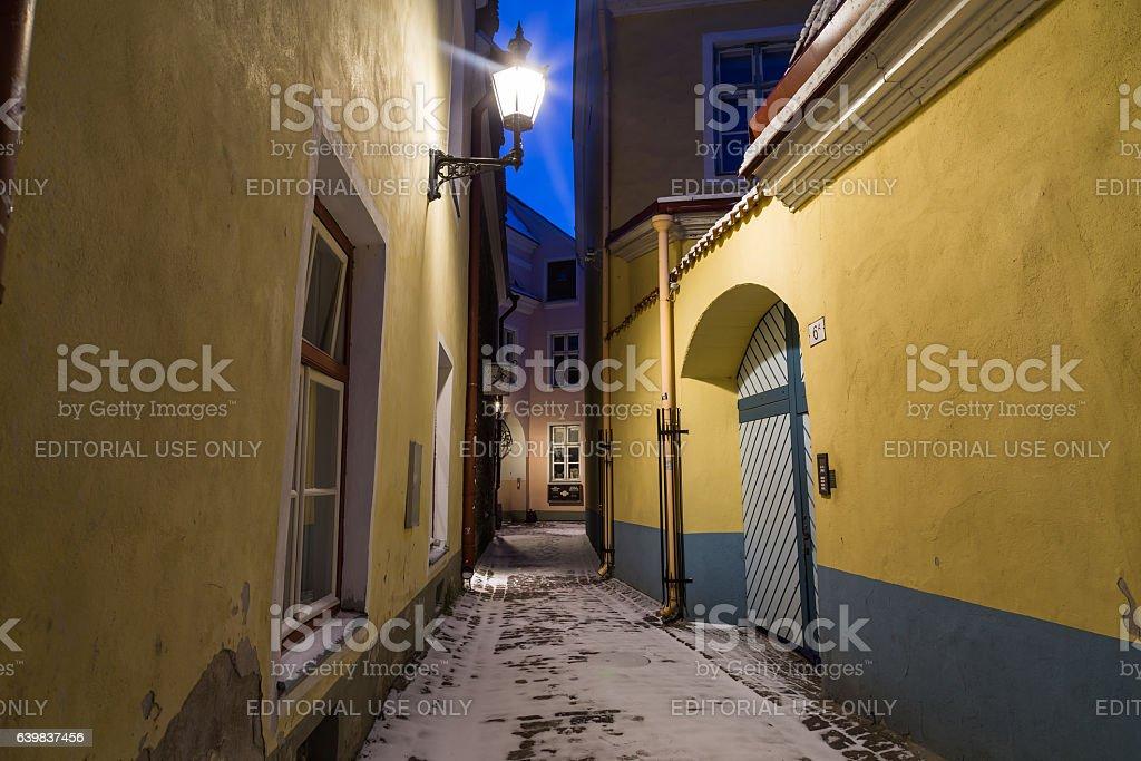 Old Streets in Tallinn at night stock photo