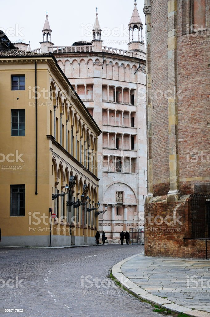 old streets in the historic center of parma,italy stock photo
