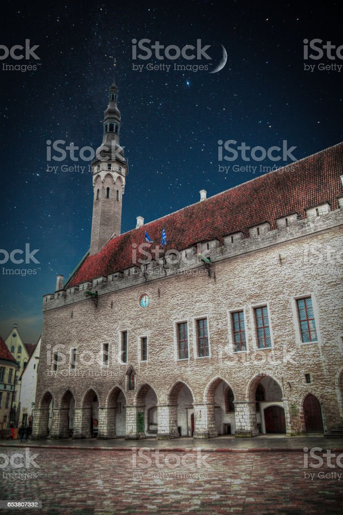 Old streets of European cities. stock photo