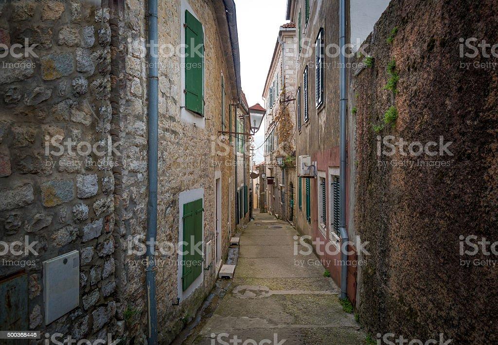 Old streets of Herceg Novi old town stock photo